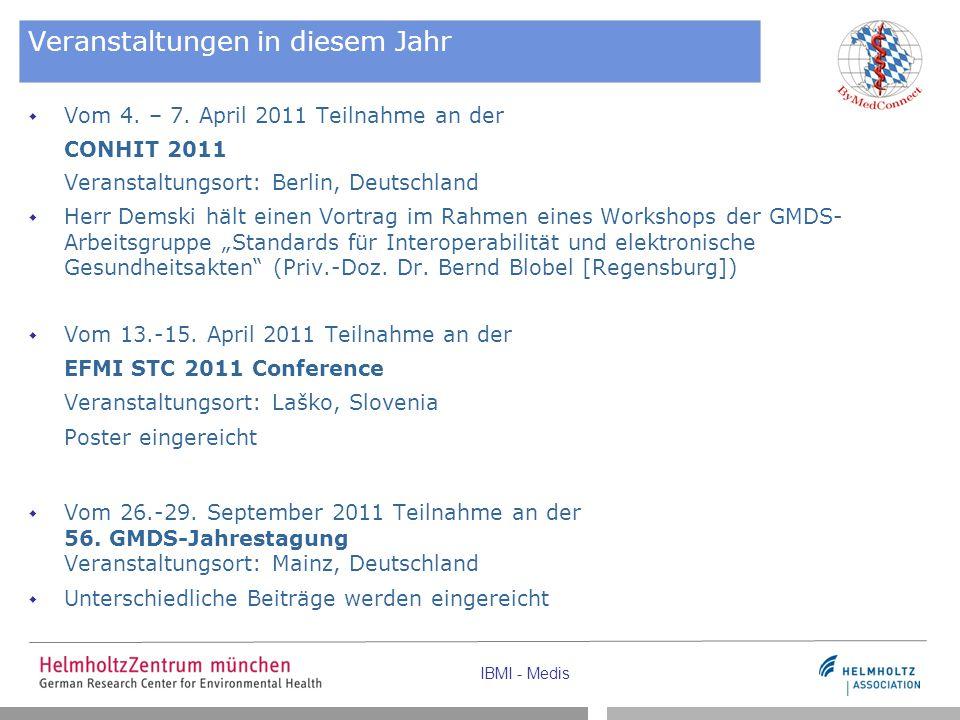 IBMI - Medis Veranstaltungen in diesem Jahr  Vom 4. – 7. April 2011 Teilnahme an der CONHIT 2011 Veranstaltungsort: Berlin, Deutschland  Herr Demski