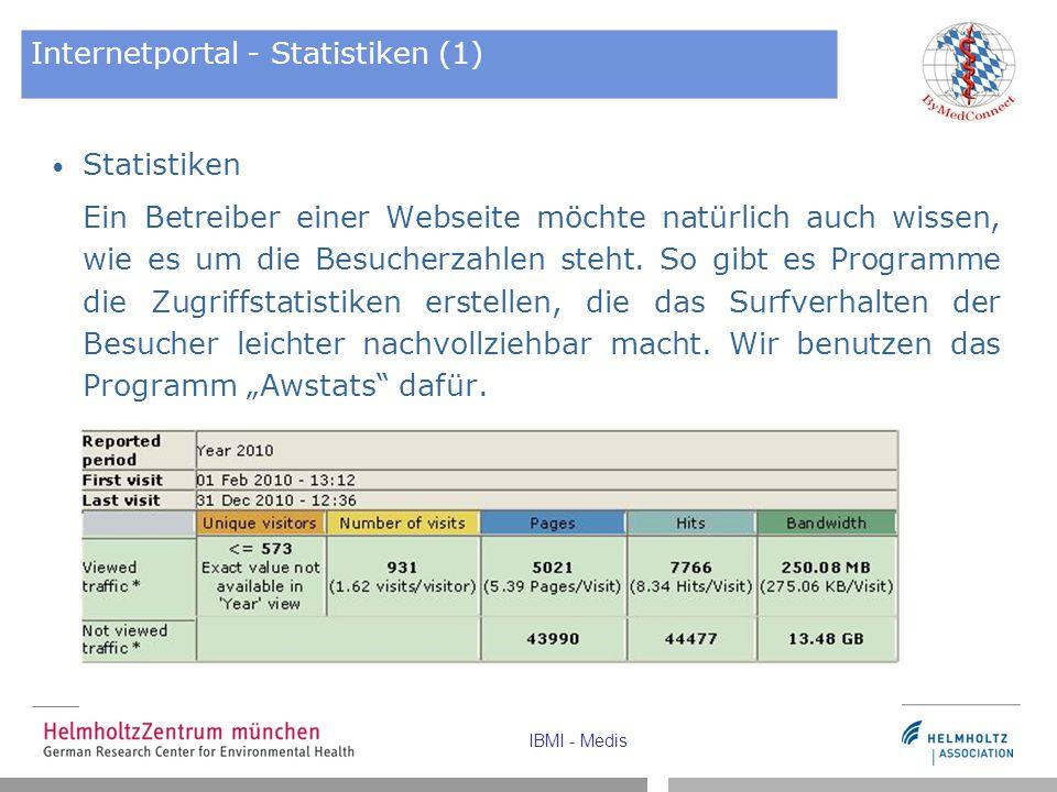 IBMI - Medis Internetportal - Statistiken (1) Statistiken Ein Betreiber einer Webseite möchte natürlich auch wissen, wie es um die Besucherzahlen steh