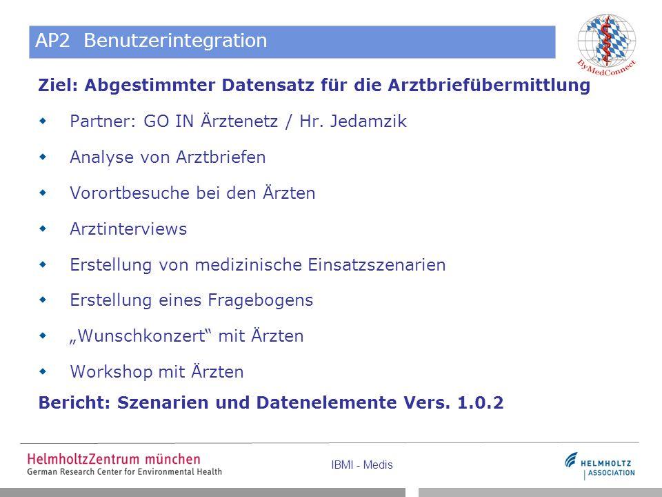 IBMI - Medis AP2 Benutzerintegration Ziel: Abgestimmter Datensatz für die Arztbriefübermittlung  Partner: GO IN Ärztenetz / Hr. Jedamzik  Analyse vo