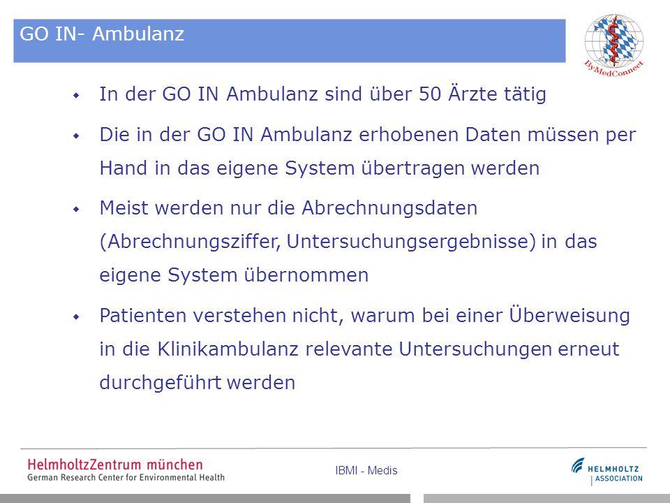 IBMI - Medis GO IN- Ambulanz  In der GO IN Ambulanz sind über 50 Ärzte tätig  Die in der GO IN Ambulanz erhobenen Daten müssen per Hand in das eigen