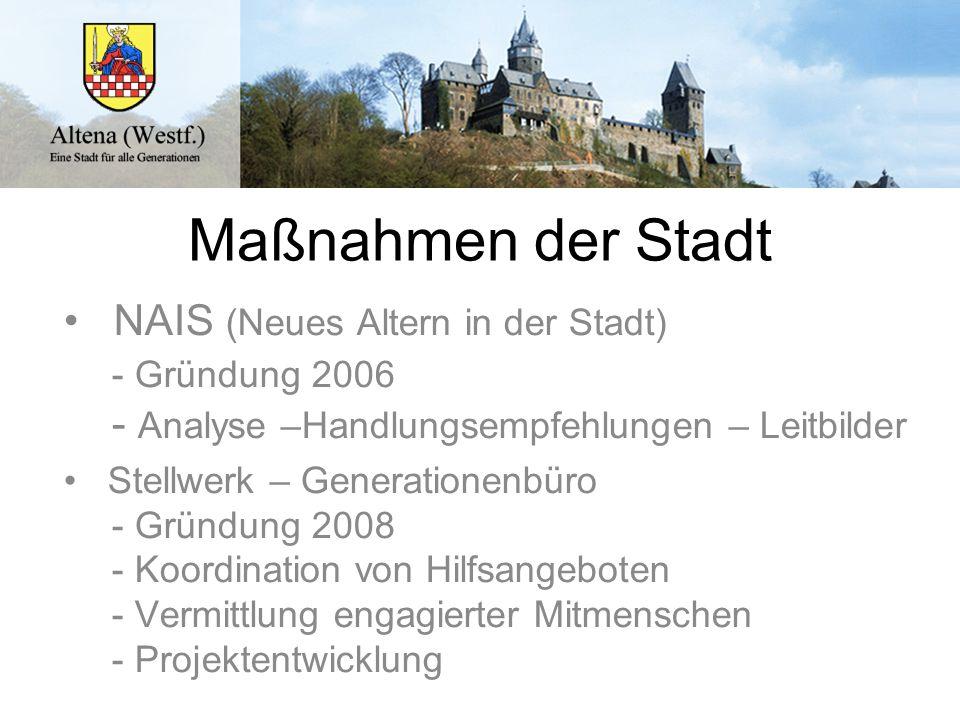 Maßnahmen der Stadt NAIS (Neues Altern in der Stadt) - Gründung 2006 - Analyse –Handlungsempfehlungen – Leitbilder Stellwerk – Generationenbüro - Grün