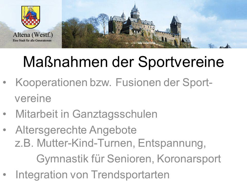 Maßnahmen der Sportvereine Kooperationen bzw. Fusionen der Sport- vereine Mitarbeit in Ganztagsschulen Altersgerechte Angebote z.B. Mutter-Kind-Turnen