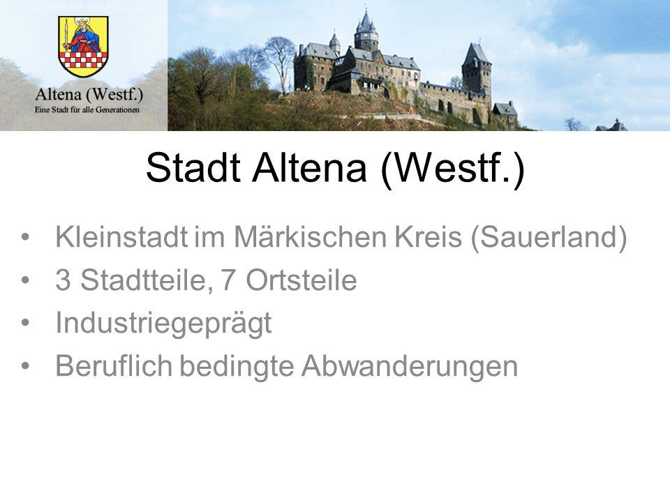 Stadt Altena (Westf.) Kleinstadt im Märkischen Kreis (Sauerland) 3 Stadtteile, 7 Ortsteile Industriegeprägt Beruflich bedingte Abwanderungen
