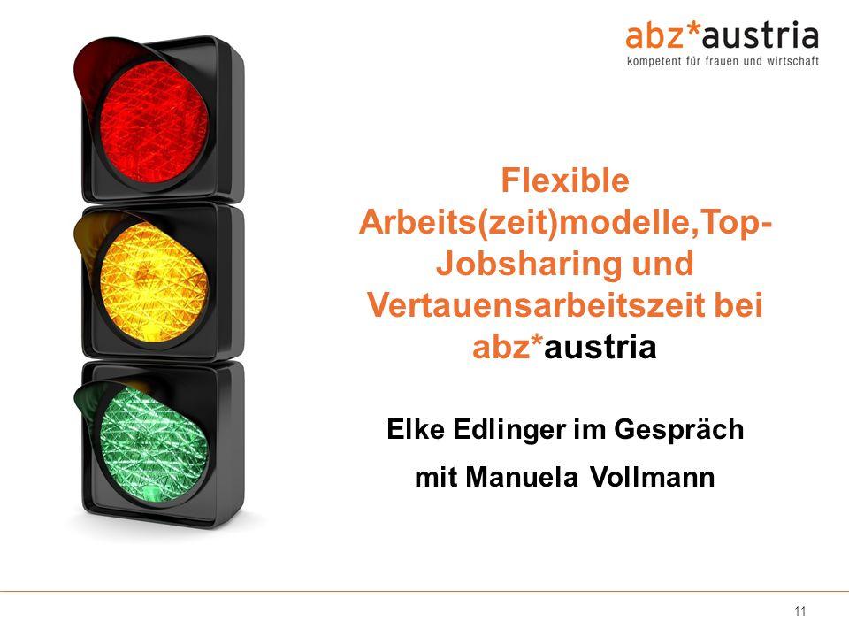 11 Flexible Arbeits(zeit)modelle,Top- Jobsharing und Vertauensarbeitszeit bei abz*austria Elke Edlinger im Gespräch mit Manuela Vollmann