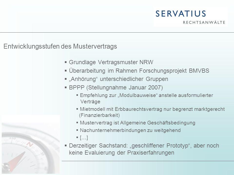 """ Grundlage Vertragsmuster NRW  Überarbeitung im Rahmen Forschungsprojekt BMVBS  """"Anhörung"""" unterschiedlicher Gruppen  BPPP (Stellungnahme Januar 2"""