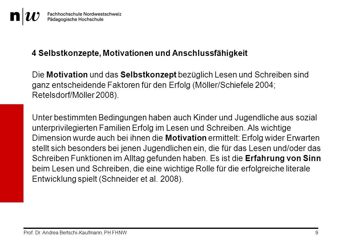 Prof. Dr. Andrea Bertschi-Kaufmann, PH FHNW9 4 Selbstkonzepte, Motivationen und Anschlussfähigkeit Die Motivation und das Selbstkonzept bezüglich Lese