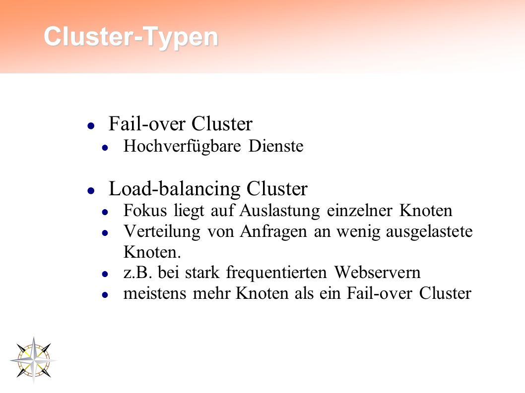 Cluster-Typen ● Fail-over Cluster ● Hochverfügbare Dienste ● Load-balancing Cluster ● Fokus liegt auf Auslastung einzelner Knoten ● Verteilung von Anfragen an wenig ausgelastete Knoten.