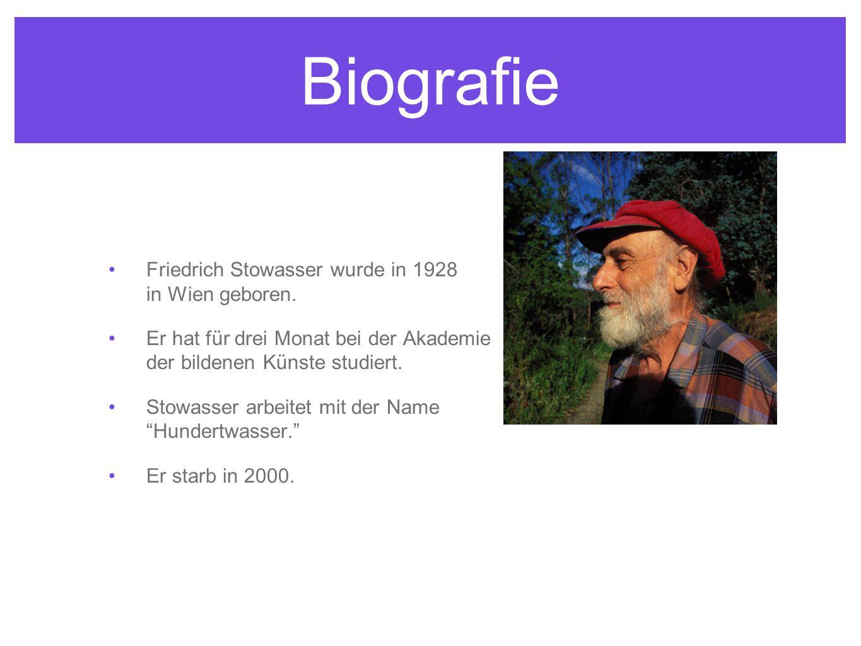 Biografie Friedrich Stowasser wurde in 1928 in Wien geboren. Er hat für drei Monat bei der Akademie der bildenen Künste studiert. Stowasser arbeitet m