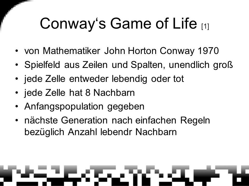 Conway's Game of Life [1] von Mathematiker John Horton Conway 1970 Spielfeld aus Zeilen und Spalten, unendlich groß jede Zelle entweder lebendig oder