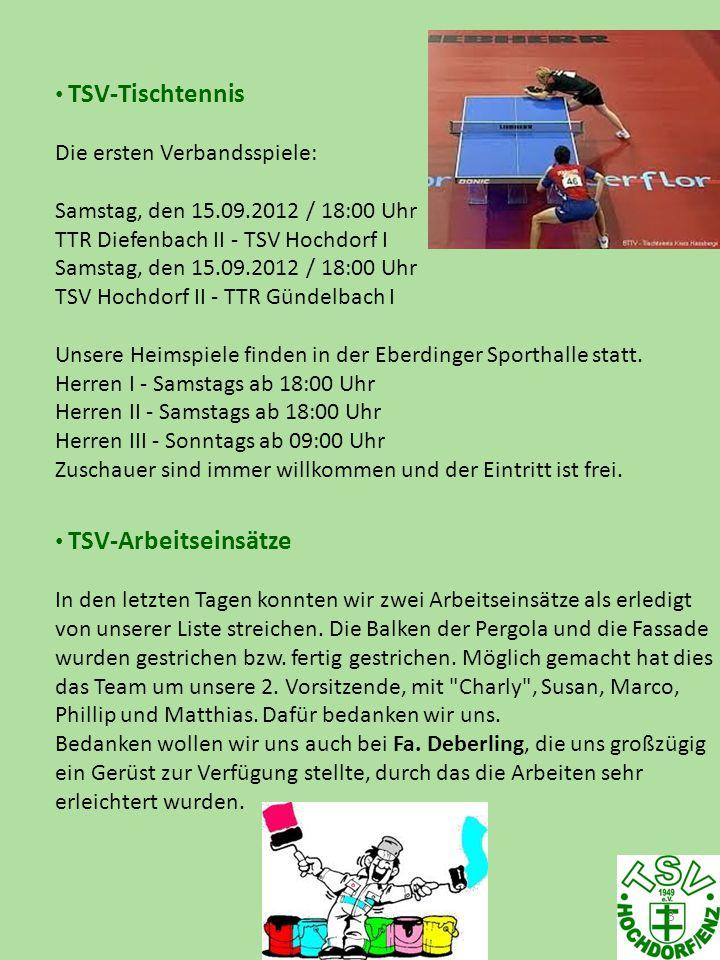 3 TSV-Tischtennis Die ersten Verbandsspiele: Samstag, den 15.09.2012 / 18:00 Uhr TTR Diefenbach II - TSV Hochdorf I Samstag, den 15.09.2012 / 18:00 Uh
