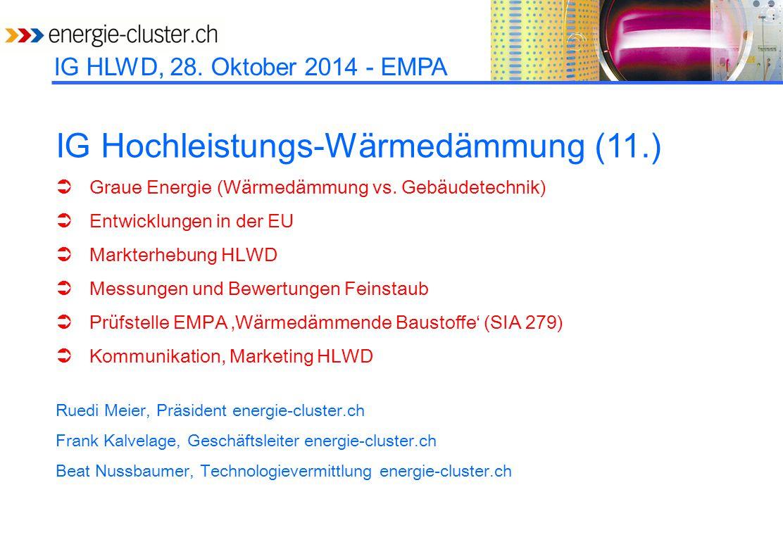 IG HLWD, 28. Oktober 2014 - EMPA IG Hochleistungs-Wärmedämmung (11.)  Graue Energie (Wärmedämmung vs. Gebäudetechnik)  Entwicklungen in der EU  Mar