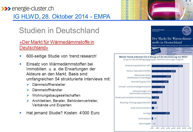 IG HLWD, 28. Oktober 2014 - EMPA Studien in Deutschland «Der Markt für Wärmedämmstoffe in Deutschland»  600-seitige Studie von 'trend:research'  Ein