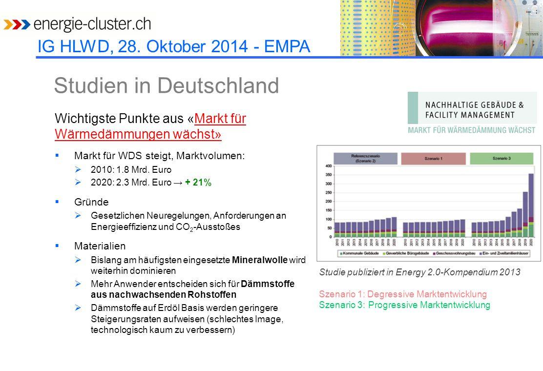 IG HLWD, 28. Oktober 2014 - EMPA Studien in Deutschland Wichtigste Punkte aus «Markt für Wärmedämmungen wächst»Markt für Wärmedämmungen wächst»  Mark