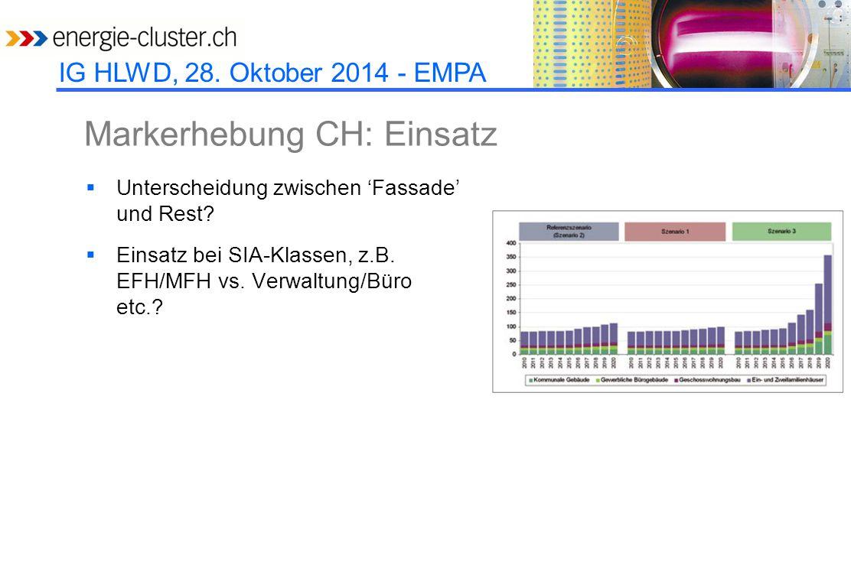 IG HLWD, 28. Oktober 2014 - EMPA Markerhebung CH: Einsatz  Unterscheidung zwischen 'Fassade' und Rest?  Einsatz bei SIA-Klassen, z.B. EFH/MFH vs. Ve