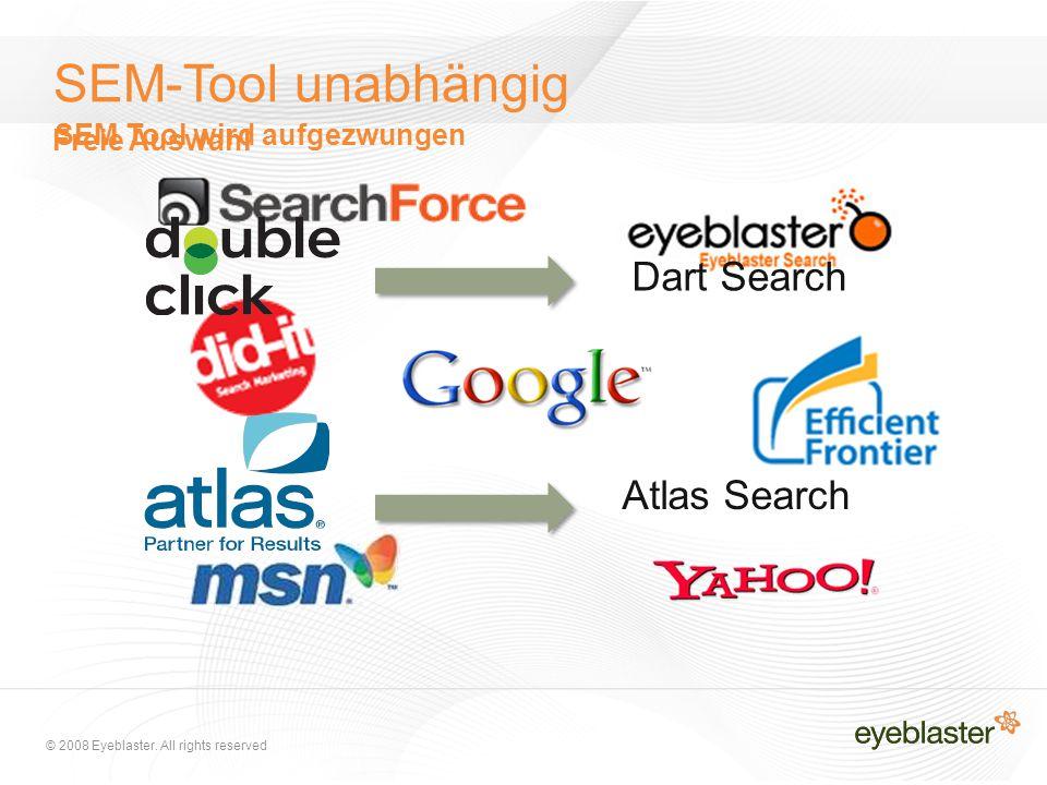 © 2008 Eyeblaster. All rights reserved SEM-Tool unabhängig Dart Search Atlas Search Freie Auswahl SEM Tool wird aufgezwungen