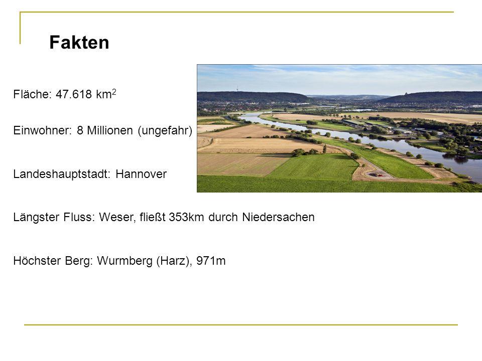 Fakten Fläche: 47.618 km 2 Einwohner: 8 Millionen (ungefahr) Landeshauptstadt: Hannover Längster Fluss: Weser, fließt 353km durch Niedersachen Höchste