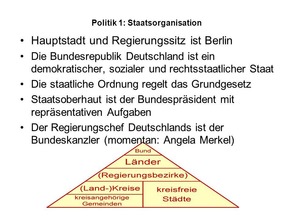Politik 1: Staatsorganisation Hauptstadt und Regierungssitz ist Berlin Die Bundesrepublik Deutschland ist ein demokratischer, sozialer und rechtsstaatlicher Staat Die staatliche Ordnung regelt das Grundgesetz Staatsoberhaut ist der Bundespräsident mit repräsentativen Aufgaben Der Regierungschef Deutschlands ist der Bundeskanzler (momentan: Angela Merkel)