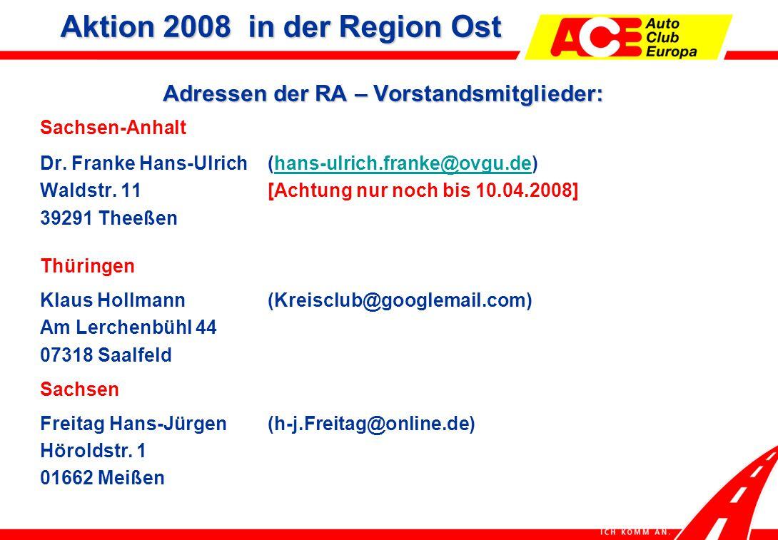 Adressen der RA – Vorstandsmitglieder: Sachsen-Anhalt Dr.