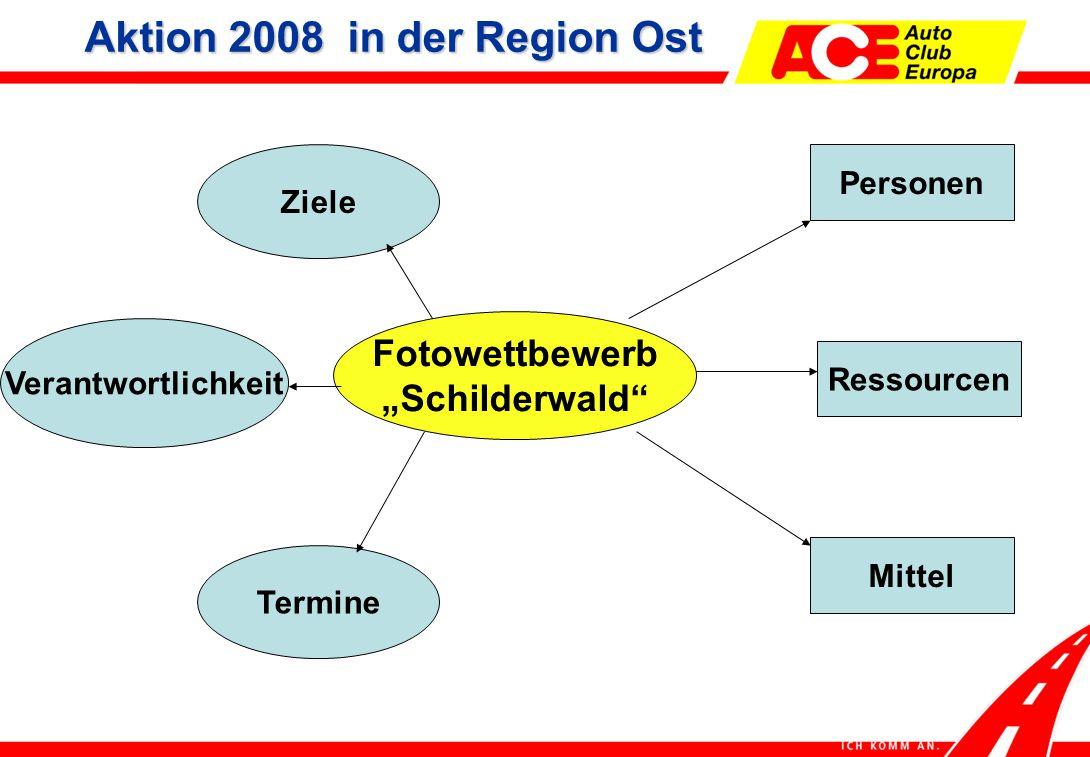 """Fotowettbewerb """"Schilderwald Personen Ressourcen Verantwortlichkeit Mittel Termine Ziele Aktion 2008 in der Region Ost"""