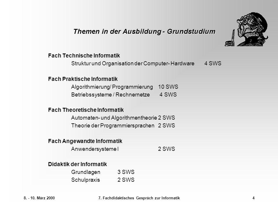 8. - 10. März 20007. Fachdidaktisches Gespräch zur Informatik4 Themen in der Ausbildung - Grundstudium Fach Technische Informatik Struktur und Organis