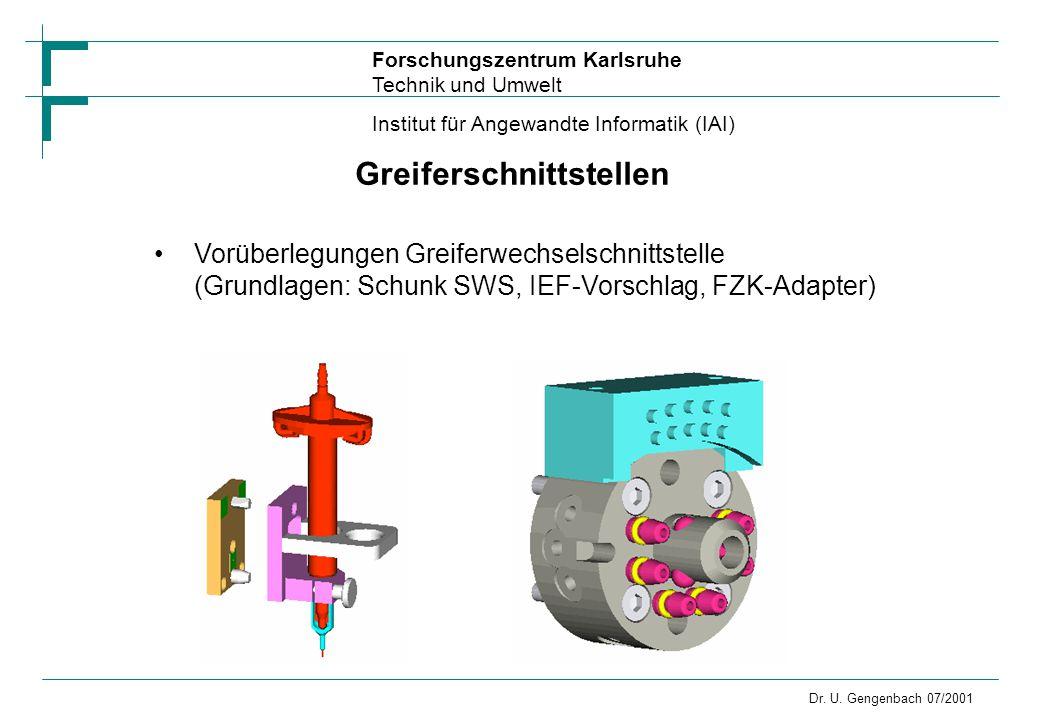 Forschungszentrum Karlsruhe Technik und Umwelt Institut für Angewandte Informatik (IAI) Dr. U. Gengenbach 07/2001 Greiferschnittstellen Vorüberlegunge
