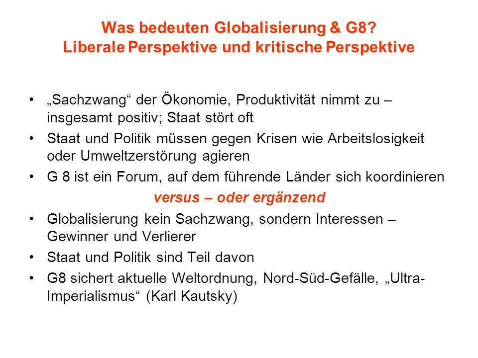 """Was bedeuten Globalisierung & G8? Liberale Perspektive und kritische Perspektive """"Sachzwang"""" der Ökonomie, Produktivität nimmt zu – insgesamt positiv;"""