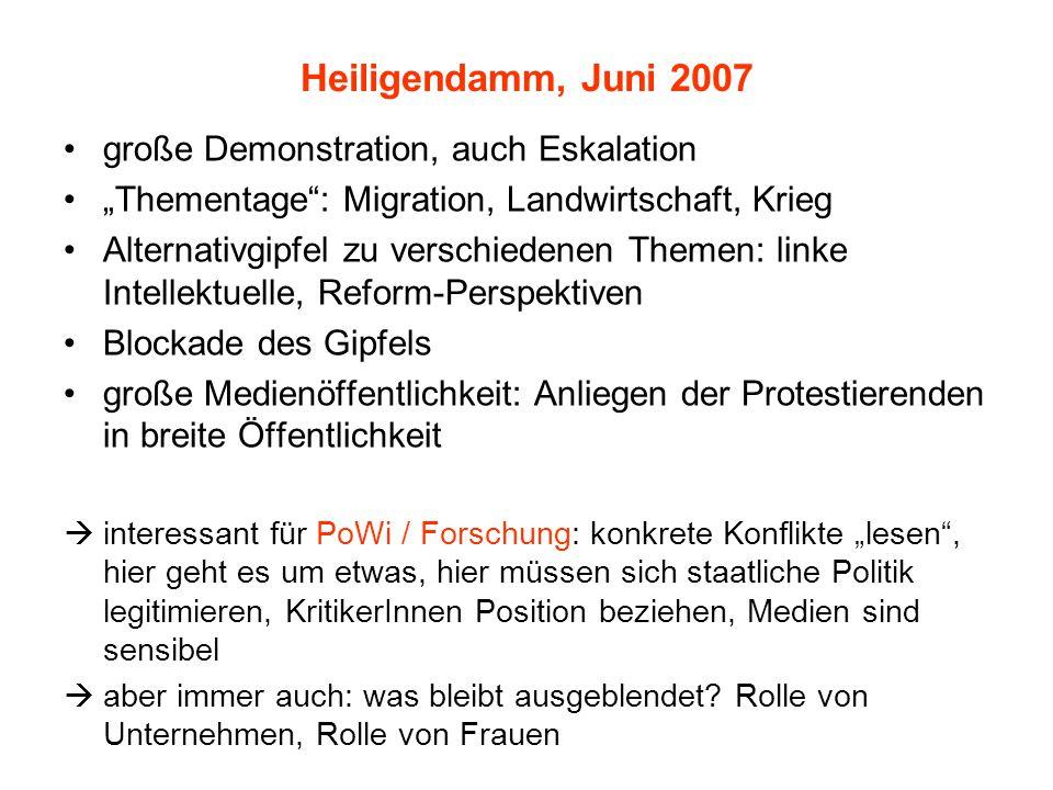 """Heiligendamm, Juni 2007 große Demonstration, auch Eskalation """"Thementage"""": Migration, Landwirtschaft, Krieg Alternativgipfel zu verschiedenen Themen:"""
