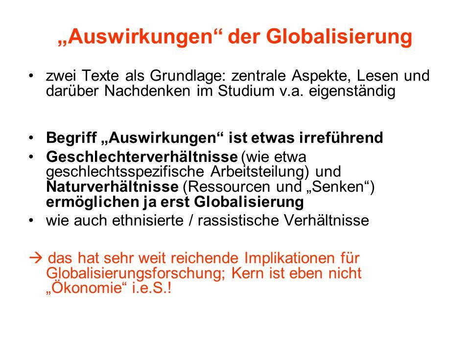 """""""Auswirkungen"""" der Globalisierung zwei Texte als Grundlage: zentrale Aspekte, Lesen und darüber Nachdenken im Studium v.a. eigenständig Begriff """"Auswi"""