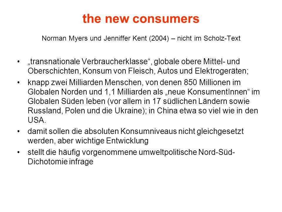 """the new consumers Norman Myers und Jenniffer Kent (2004) – nicht im Scholz-Text """"transnationale Verbraucherklasse"""", globale obere Mittel- und Oberschi"""