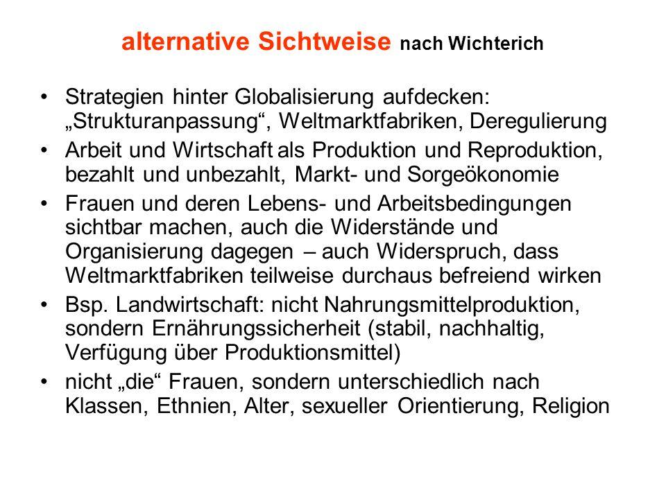 """alternative Sichtweise nach Wichterich Strategien hinter Globalisierung aufdecken: """"Strukturanpassung"""", Weltmarktfabriken, Deregulierung Arbeit und Wi"""