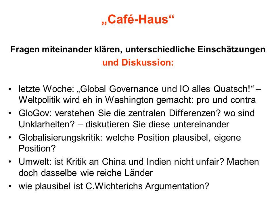 """""""Café-Haus"""" Fragen miteinander klären, unterschiedliche Einschätzungen und Diskussion: letzte Woche: """"Global Governance und IO alles Quatsch!"""" – Weltp"""