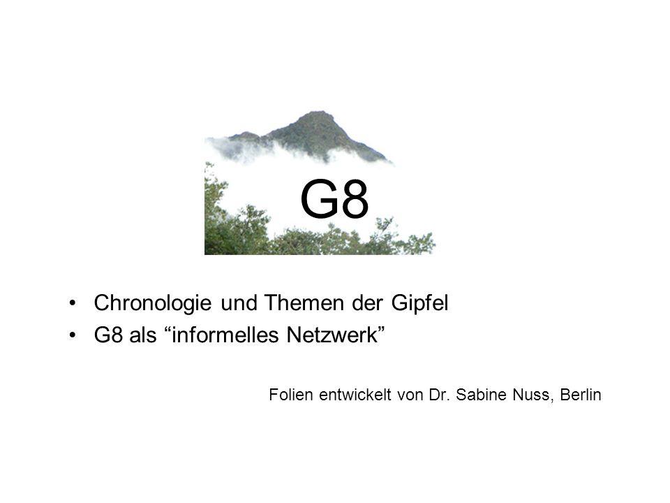 """G8 Chronologie und Themen der Gipfel G8 als """"informelles Netzwerk"""" Folien entwickelt von Dr. Sabine Nuss, Berlin"""