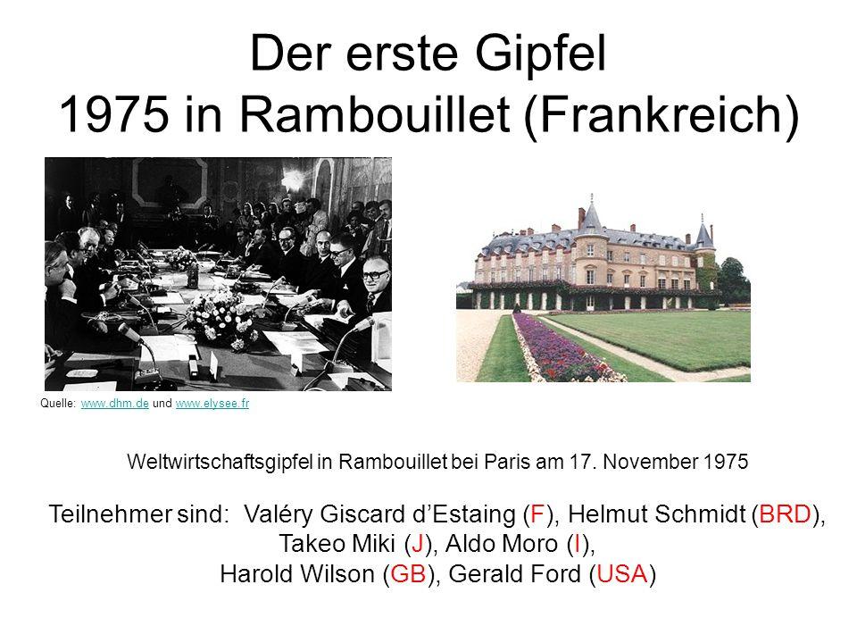 Der erste Gipfel 1975 in Rambouillet (Frankreich) Weltwirtschaftsgipfel in Rambouillet bei Paris am 17. November 1975 Teilnehmer sind: Valéry Giscard
