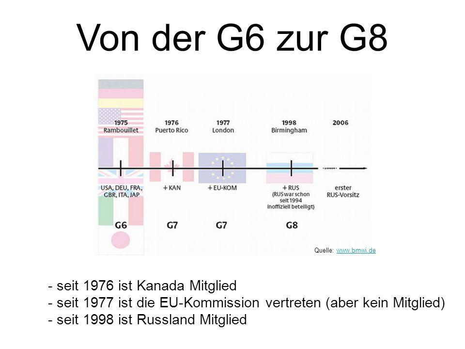 Von der G6 zur G8 - seit 1976 ist Kanada Mitglied - seit 1977 ist die EU-Kommission vertreten (aber kein Mitglied) - seit 1998 ist Russland Mitglied Q