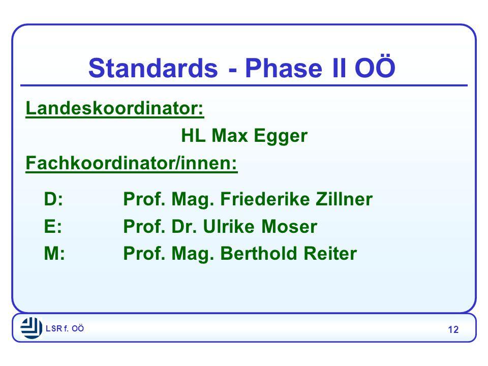 LSR f. OÖ 12 Standards - Phase II OÖ Landeskoordinator: HL Max Egger Fachkoordinator/innen: D:Prof.