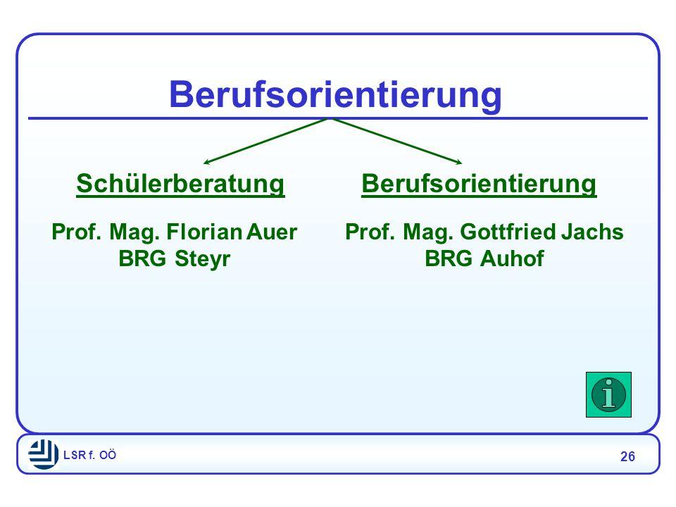 LSR f. OÖ 26 Berufsorientierung SchülerberatungBerufsorientierung Prof.