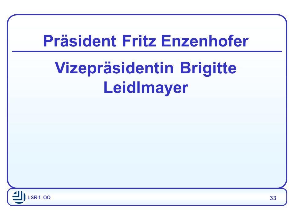LSR f. OÖ 33 Präsident Fritz Enzenhofer Vizepräsidentin Brigitte Leidlmayer