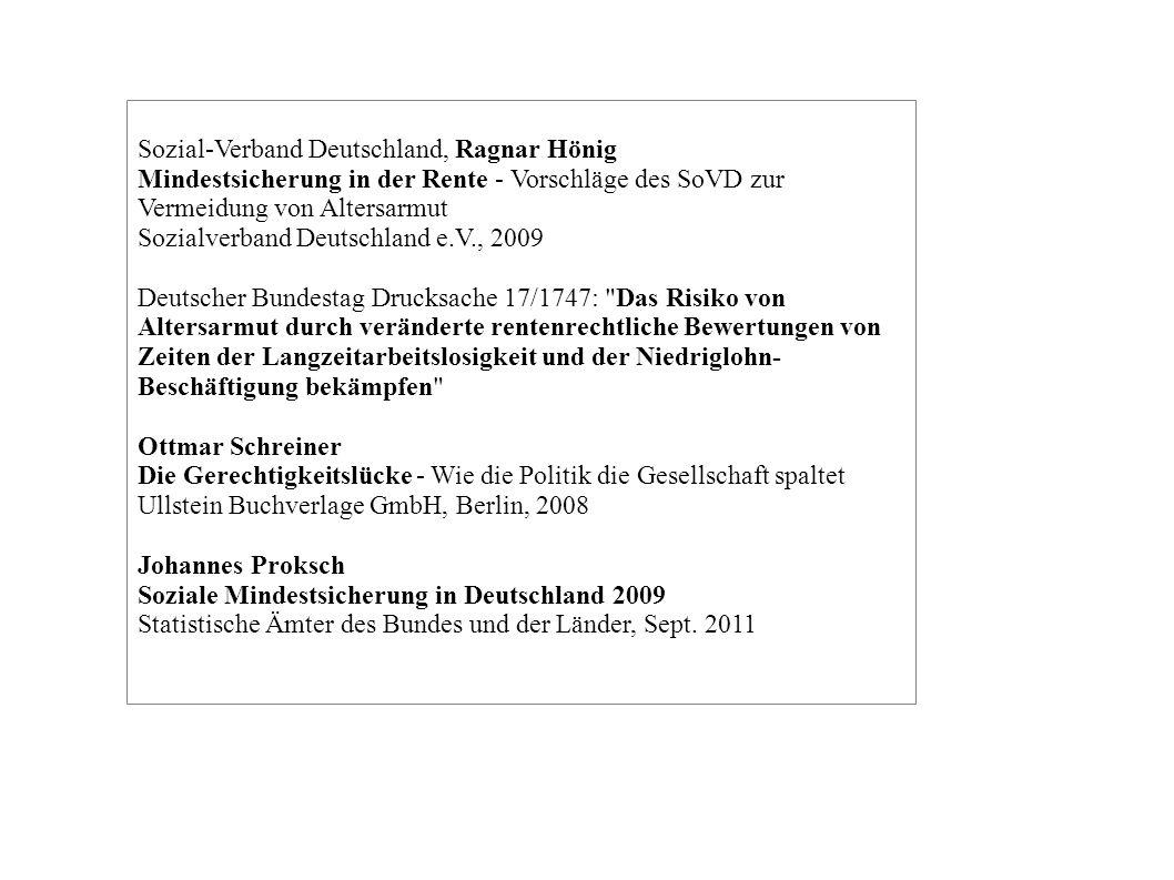 Sozial-Verband Deutschland, Ragnar Hönig Mindestsicherung in der Rente - Vorschläge des SoVD zur Vermeidung von Altersarmut Sozialverband Deutschland