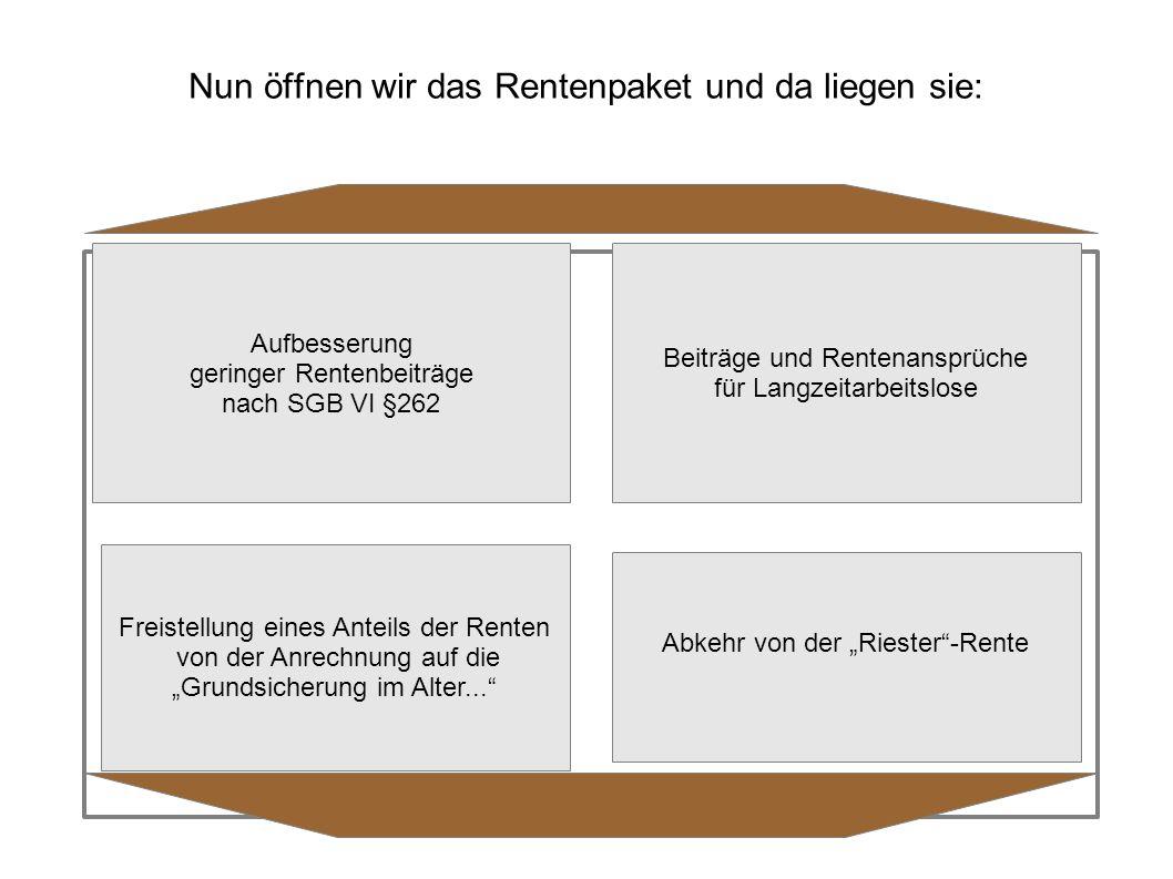 """Aufbesserung geringer Rentenbeiträge nach SGB VI §262 Beiträge und Rentenansprüche für Langzeitarbeitslose Freistellung eines Anteils der Renten von der Anrechnung auf die """"Grundsicherung im Alter... Abkehr von der """"Riester -Rente"""
