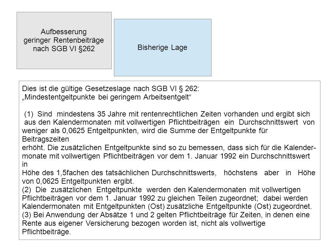 """Aufbesserung geringer Rentenbeiträge nach SGB VI §262 Bisherige Lage Dies ist die gültige Gesetzeslage nach SGB VI § 262: """"Mindestentgeltpunkte bei ge"""