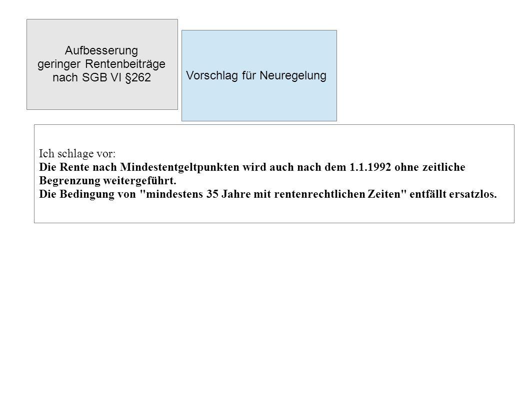 """Aufbesserung geringer Rentenbeiträge nach SGB VI §262 Offene Fragen Die Weiterführung der """"Rente nach Mindestentgeltpun kten erscheint im Wahlprogramm 2013 der SPD so beiläufig, als wäre sie beschlossene Sache."""