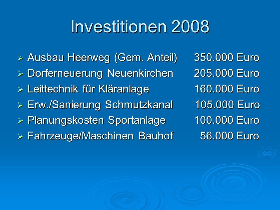 Investitionen 2007  Regenkanal/Regenrückhaltung 380.000 €  Straßenbaumaßnahmen 380.000 €  Ausbau Erlenweg (Teilstück) 375.000 €  Kindergartenerweiterung 330.000 €  Erweiterung Schmutzkanal 315.000 €  Erschließung B-Plan Koppeln 150.000 €  Sicherung Bahnübergang (1/3) 115.000 €