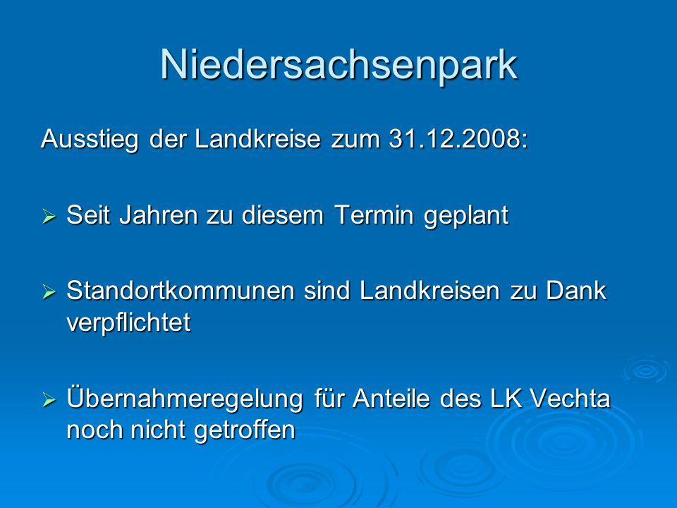 Niedersachsenpark Absage der Fa. Kemper:  Anfang November 2007  Rückführung der Planungen  Einzigartige Marktposition in Nordwest- Deutschland durc