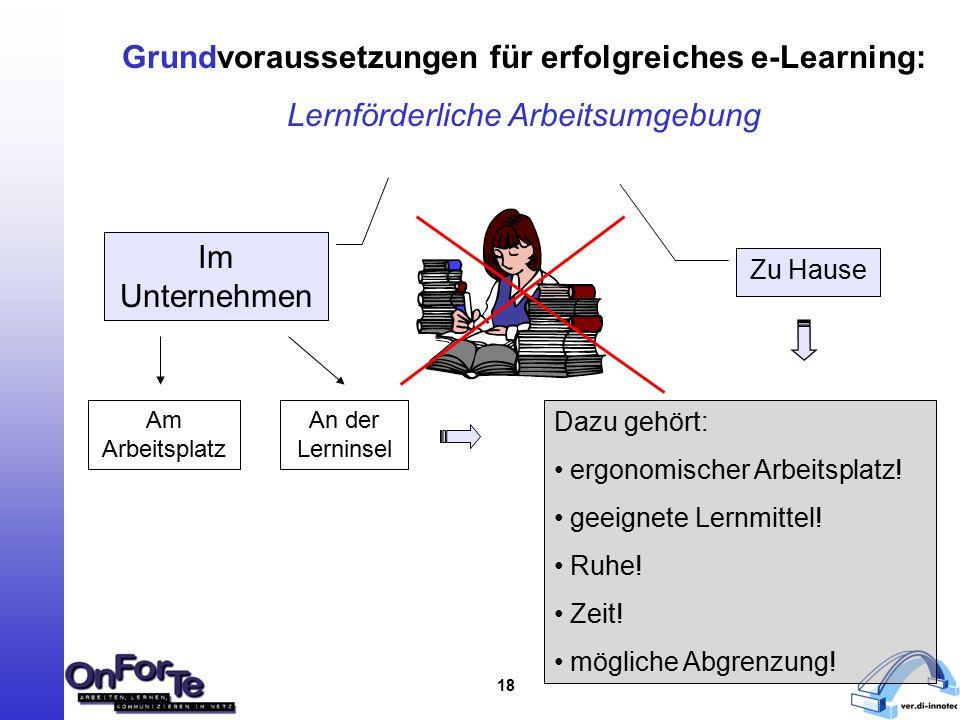 18 Grundvoraussetzungen für erfolgreiches e-Learning: Lernförderliche Arbeitsumgebung Im Unternehmen Zu Hause Am Arbeitsplatz An der Lerninsel Dazu gehört: ergonomischer Arbeitsplatz.