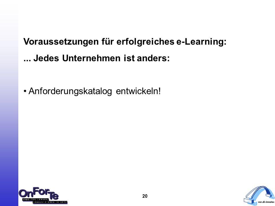 20 Voraussetzungen für erfolgreiches e-Learning:...