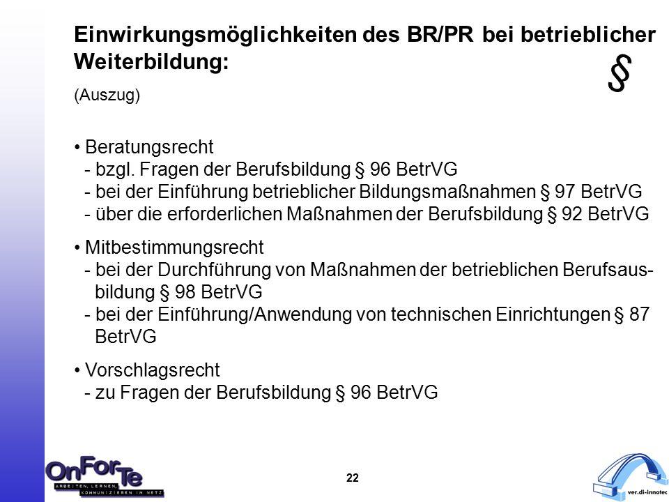 22 Einwirkungsmöglichkeiten des BR/PR bei betrieblicher Weiterbildung: (Auszug) Beratungsrecht - bzgl.
