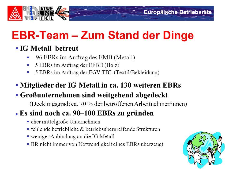 Europäische Betriebsräte EBR-Team – Zum Stand der Dinge  IG Metall betreut  96 EBRs im Auftrag des EMB (Metall)  5 EBRs im Auftrag der EFBH (Holz)