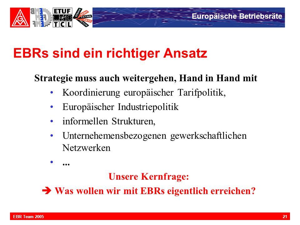 Europäische Betriebsräte 21EBR Team 2005 EBRs sind ein richtiger Ansatz Strategie muss auch weitergehen, Hand in Hand mit Koordinierung europäischer T