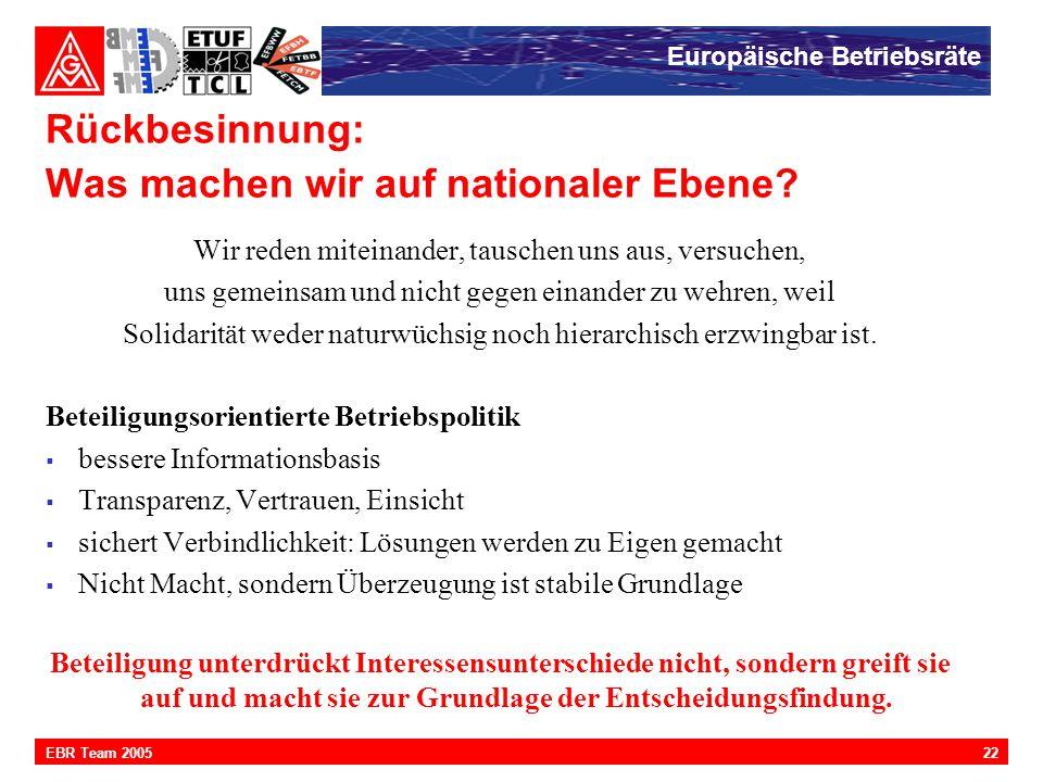 Europäische Betriebsräte 22EBR Team 2005 Rückbesinnung: Was machen wir auf nationaler Ebene? Wir reden miteinander, tauschen uns aus, versuchen, uns g