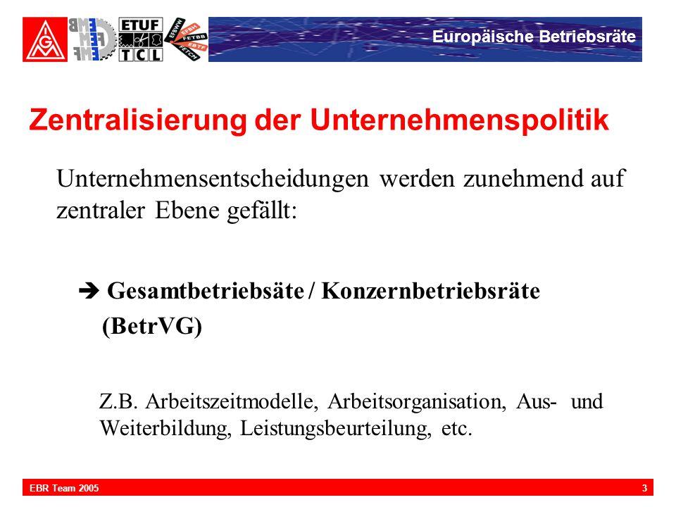 Europäische Betriebsräte 3EBR Team 2005 Zentralisierung der Unternehmenspolitik Unternehmensentscheidungen werden zunehmend auf zentraler Ebene gefäll